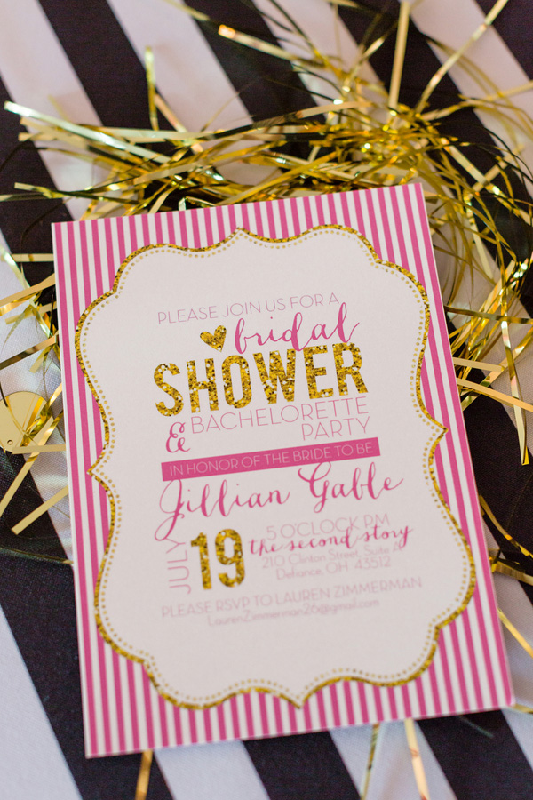 A glam bridal shower + bachelorette party combination on bridal shower blog, Showerbelle.