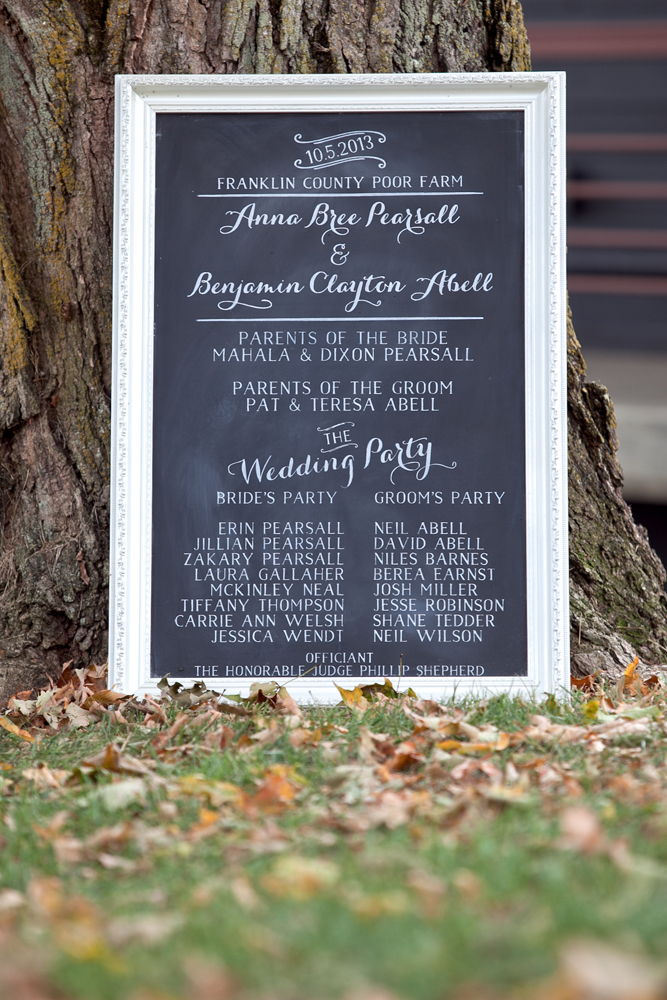 Custom chalkboard wedding program by Gabrielle Green of #Event29.