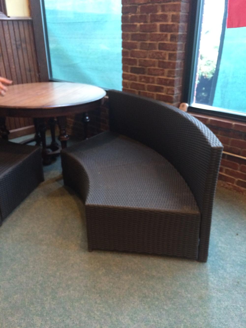 Rattan Sofa $75/quarter round piece