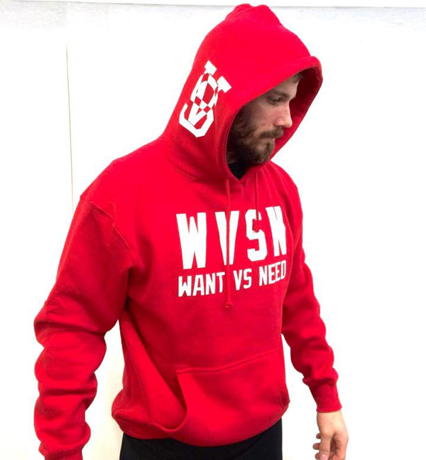 WANT VS NEED PULLOVER RED SWEATSHIRT WITH THE 2015 VS LOGO ON THE SIDE OF THE HOOD