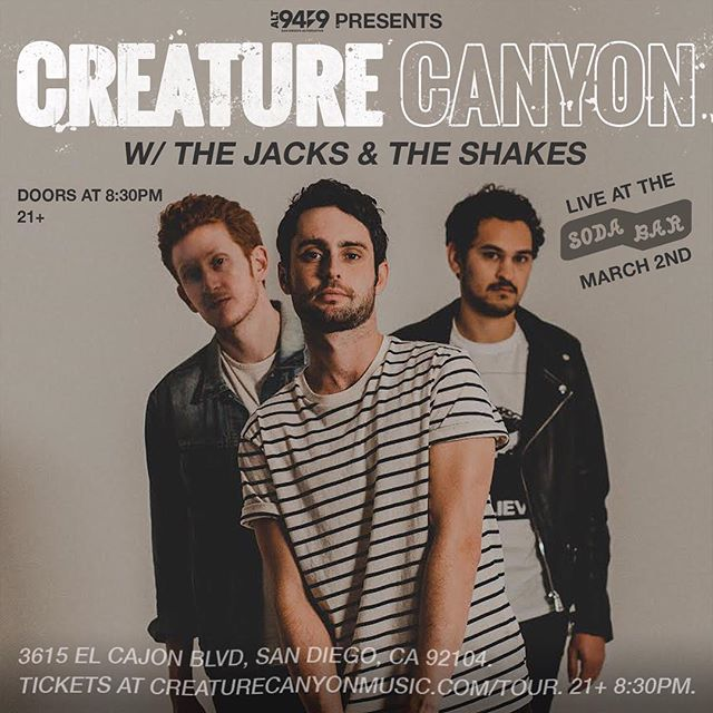 We are stoked to announce our show at @sodabarsd on March 2nd with our friends @thejacks.band and @theshakesmusic . Presented by @alt949radio ! Tickets are available NOW in our bio! This will be a wild night! 🔥🚨🔥