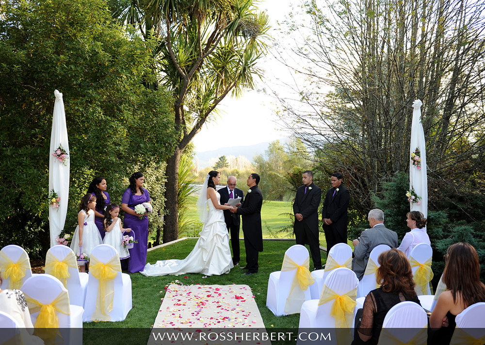 Wedding ceremony at Tongariro Lodge beside the Tongariro River