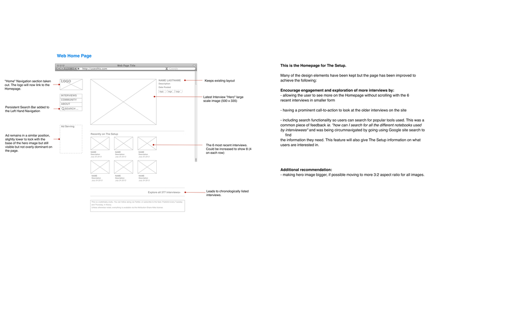 Home page design wireframe