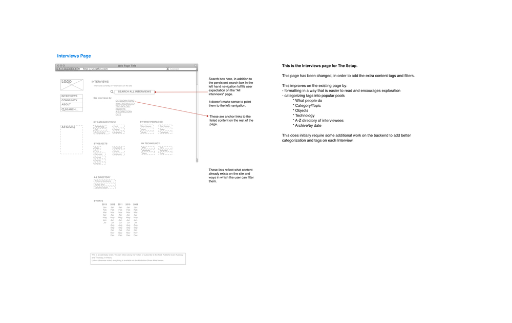 Interview page wireframes