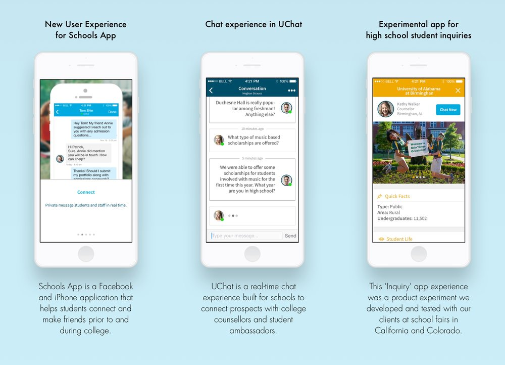 Some examples of Uversity's mobile apps. Visual Design by Angela Medina