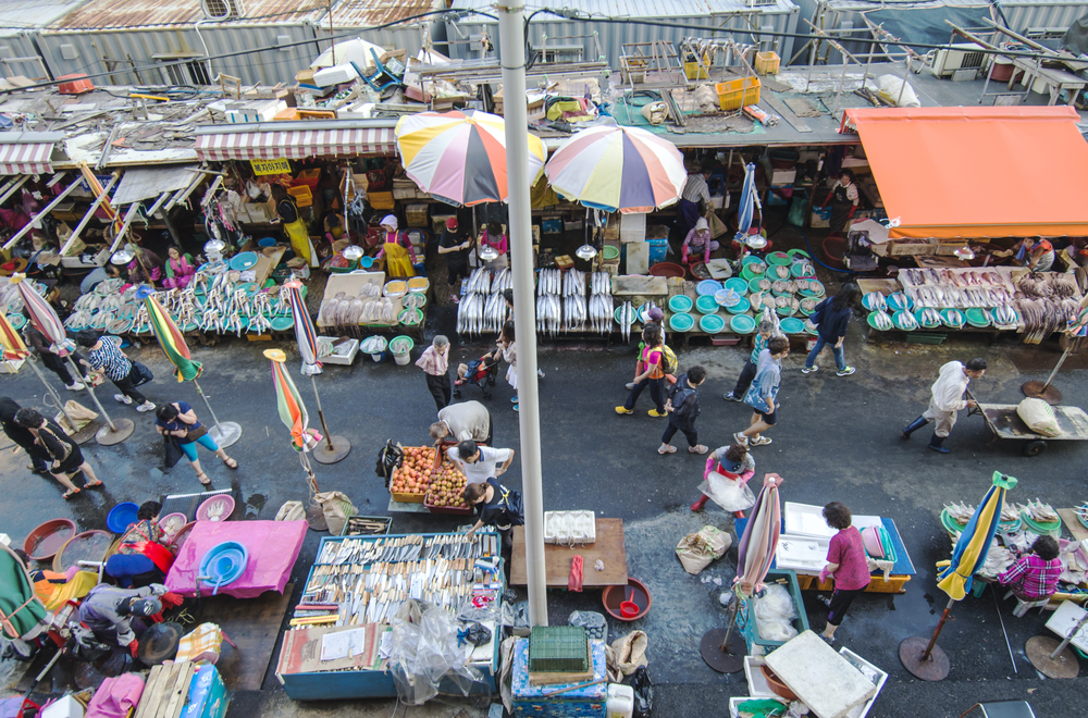 Overview of Jagalchi Market in Busan, S.Korea.