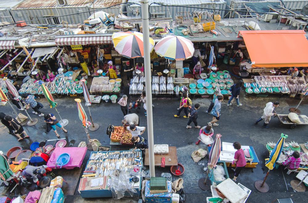 Overview of Jagalchi Market in Busan, S.Korea.