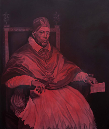 Pope Picasso X. 90cm x 110cm. Oil on canvas.