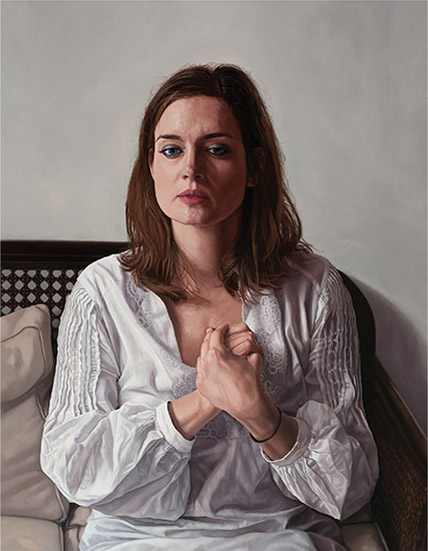 Ms. Schipper, Waiting. 100cm x 120cm. Oil on   canvas.