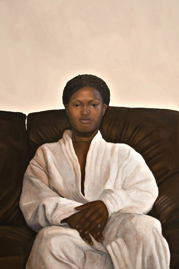 Politely Refusing to Smile. 90cm x 60cm. Acrylic   on Board.