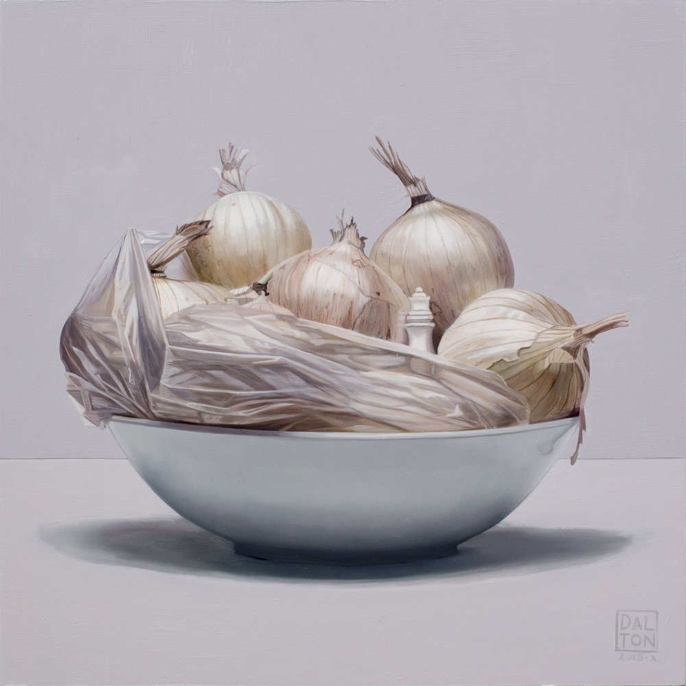 White Onions in Plastic with Queen Oil on Board 30x30cm.jpg