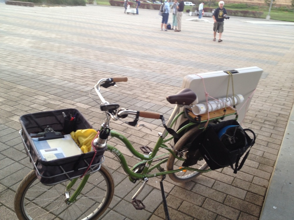 Time to take the tabling materials home - by cargo bike.