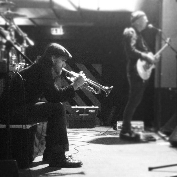 Sound check with 'The Resignators' at Mau Club in Rostock, Germany, 13th July 2012. Photo By Bridget Farmer