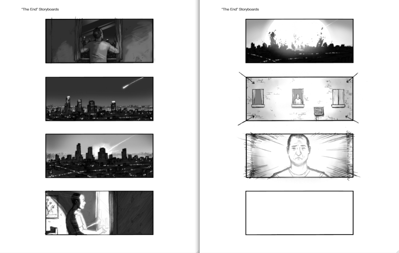 Storyboards for the final sequence of my short film, the end. By the incredible artist, Adam Bolt. Adam even tried to incorporate the star of the end (Cris D'Annunzio) into his drawings. The meteor sequence was brought to life by the amazingly talented Marc-André Gray, and the exterior building sequence by the equally amazing Alessandro Schiassi.