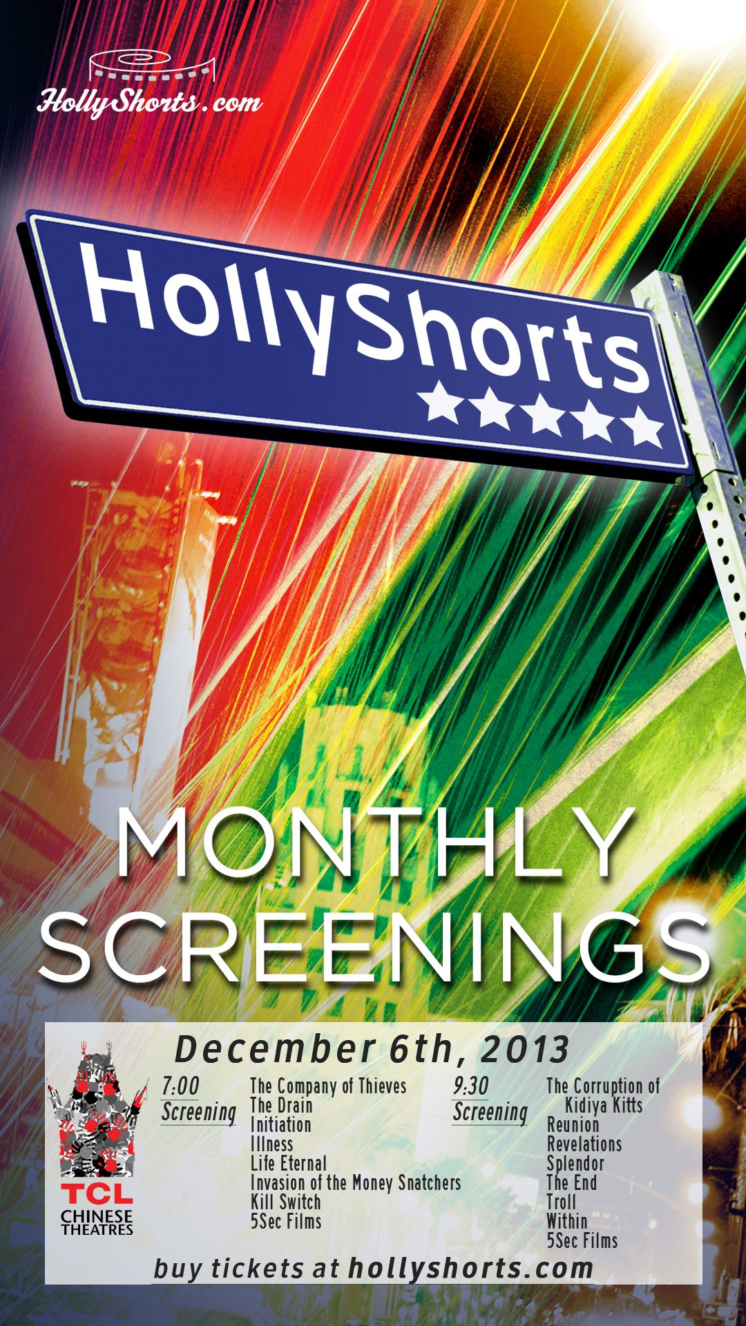My short film   the end   was selected to screen at the famous  Chinese Theater  on Hollywood Blvd on December 6th as part of the  Hollyshorts Film Festival  screening series.   More details soon!