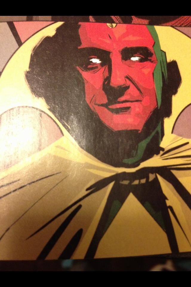 It's me!        The   Vision   in the new Avengers comic book  !         It's selling out everywhere, but one of my buddies found a copy somewhere and just tweeted this to me.       It's kind of both funny and surreal to me at the same time.