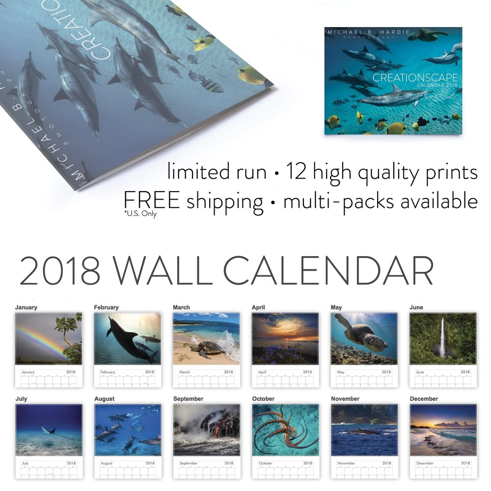 The 2018 CreationScape Wall Calendar - Our vibrant photo calendars look amazing on any wall. Twelve of Michael's most popular images from this year are yours to keep in this year's official CreationScape Wall Calendar.Multi-Packs are available at discounted rates and shipping is free within the United States.