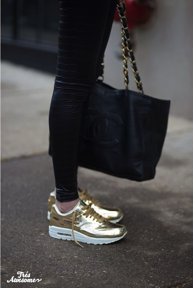 gold nike sneakers fashion