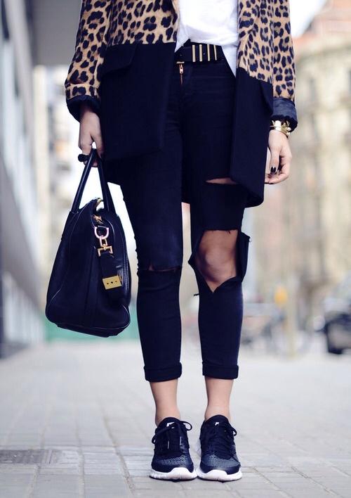 nike street style sneakers leopard