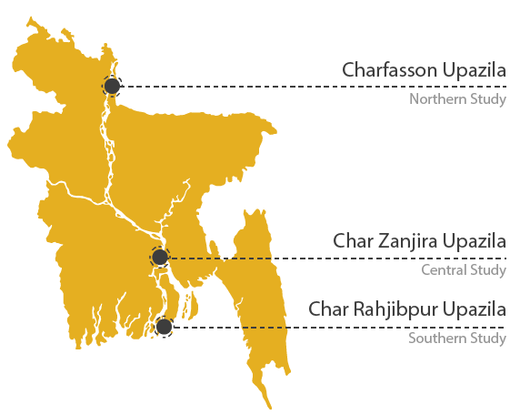 Figure 6: Key locating the three charland case studies (Banglapedia, 2010).