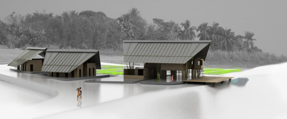 Figure 17: Rendering of the community complex as seen from Char Bilashpur.