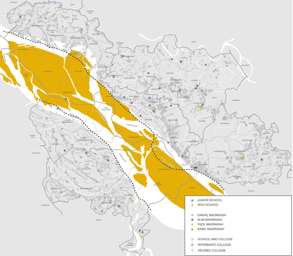 Figure 16:  Dohar Upazila with its charlands identified in yellow.
