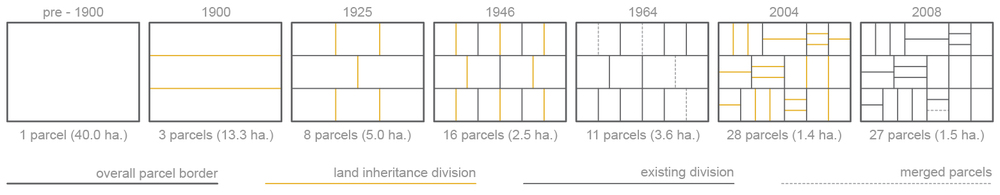 Figure 11:  A stylization of rural land segmentation due to land inheritance laws for a well-to-do clan in Krishnapur (Data from Akanda & Ito, 2008; Cain, 1978).