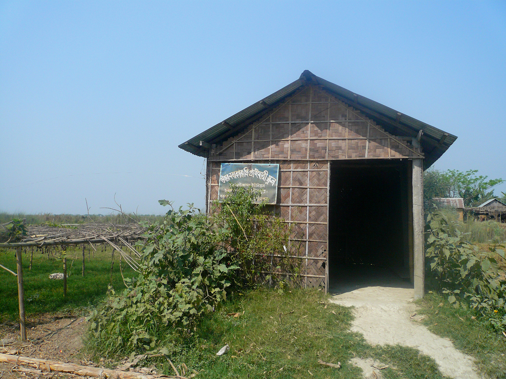 Figure 19: The only schoolhouse on Char Bilashpur (Rivera, 2010). This one-room schoolhouse serves all students of all ages on the char, and becomes useless during the barsha. The parents we spoke to during our interviews became very emotional when describing the state of the schoolhouse on Char Bilashpur.