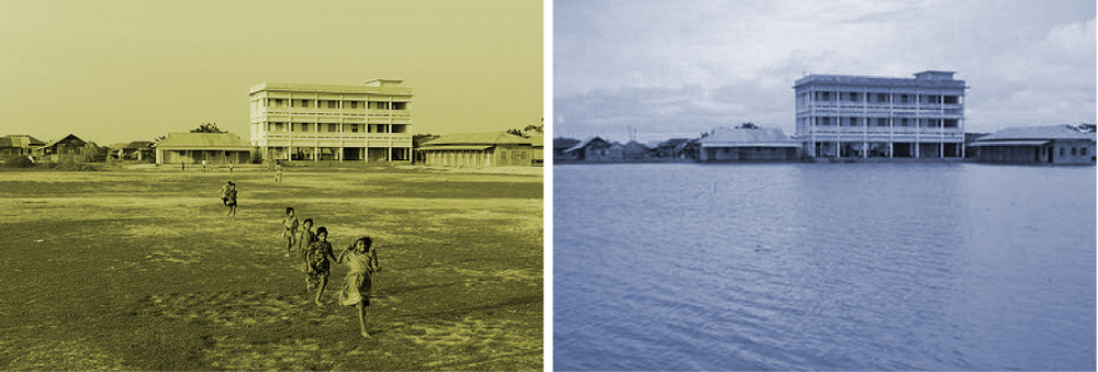Figure 20:  Char Atra High School during the dry season (left image) and the barsha (right image) (Images from Wiese, 2009). Charland schools are often forced to close during the barsha due to their location on the char.