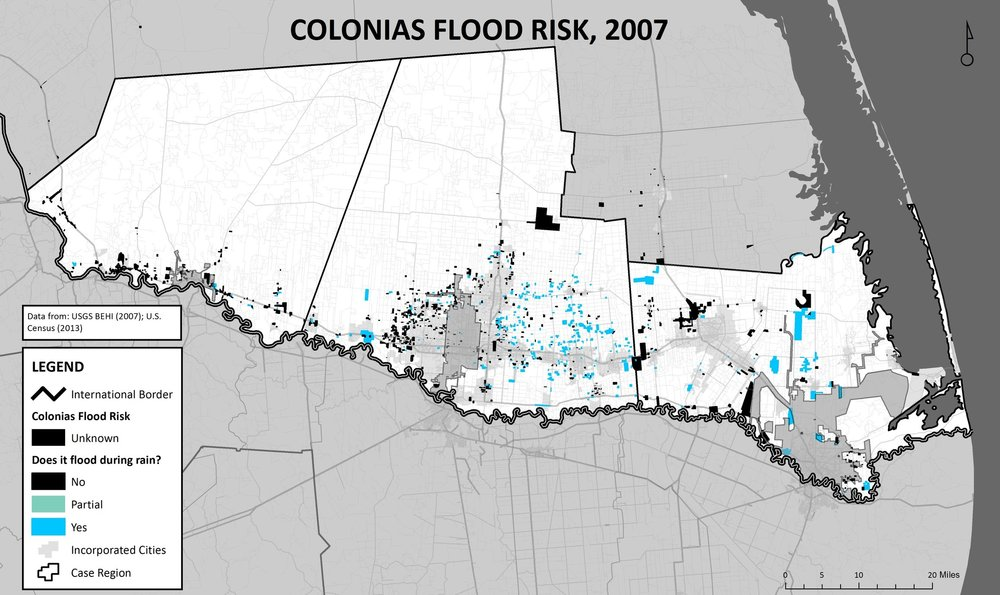 Figure 4:  Map of the Rio Grande Valley, showing the location of colonias and their widespread susceptibility to flooding (Rivera, 2013).