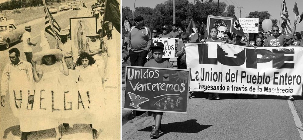 "Figure 2:  ( LEFT ) An historic image of the United Farmworkers' (UFW) first strike and protest in the Rio Grande Valley of Texas (Fishlow, 1967). These protests assembled farmworkers in communities that would later be called ""colonias"" starting in the 1980s. ( RIGHT ) Image of LUPE's 2015 annual César Chávez Day March (Rivera, 2015). LUPE was founded by César Chávez to serve as a community union for colonia residents."