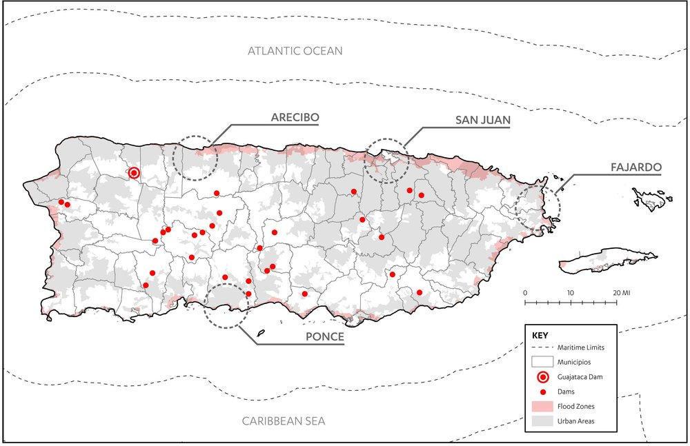 Figure 7:  Map of flood-prone areas in Puerto Rico (Rivera, 2017; Data from FEMA and Puerto Rico Open Data).