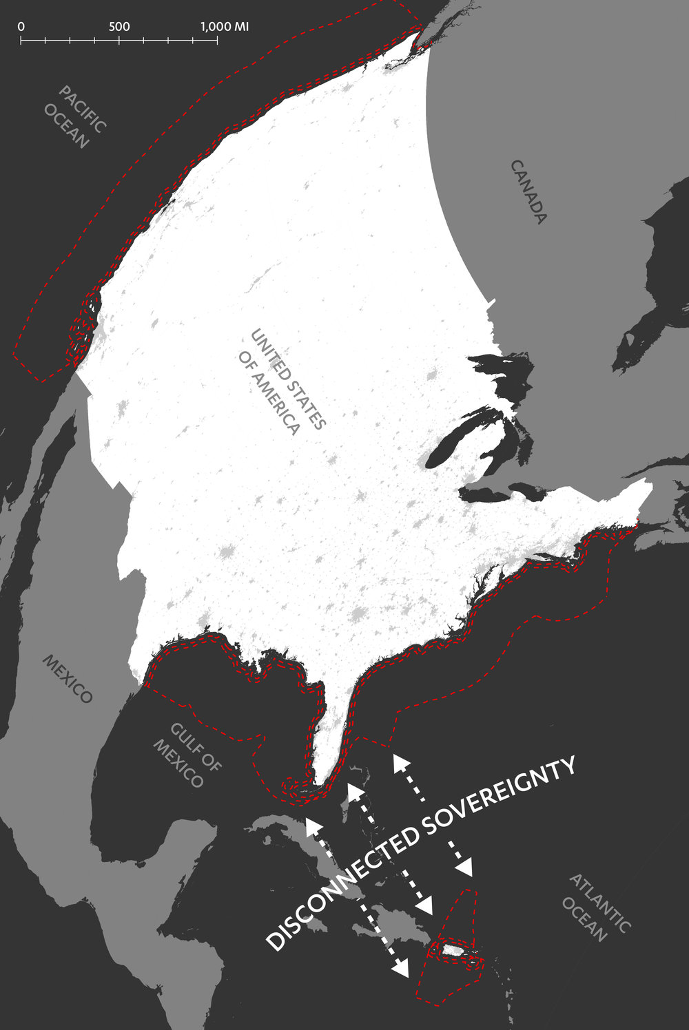 Figure 2: The border of the United States exerts a violent force on Puerto Rico, the distance creates a disconnected zone of sovereignty that exacerbates the island's second-class citizenship (Rivera, 2017). This disconnected sovereignty also distances the Puerto Rico diaspora from the island, making diaspora-directed redevelopment efforts difficult to manage.