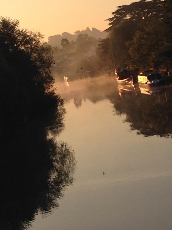 late september dawn thames ditton island