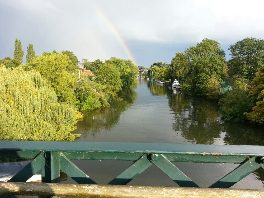 Thames Ditton Island from bridge with rainbow.jpg