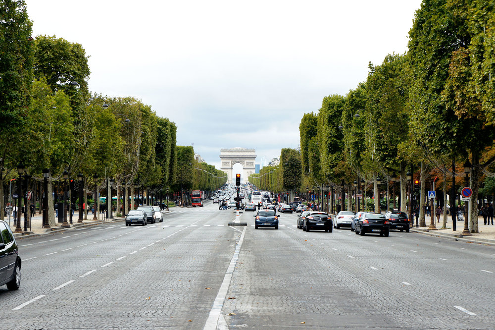 Looking at the Arc de Triomphe from Champs Elysées