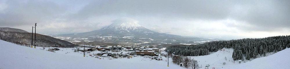 A panorama taken from the ski slopes of Niseko, Hokkaido