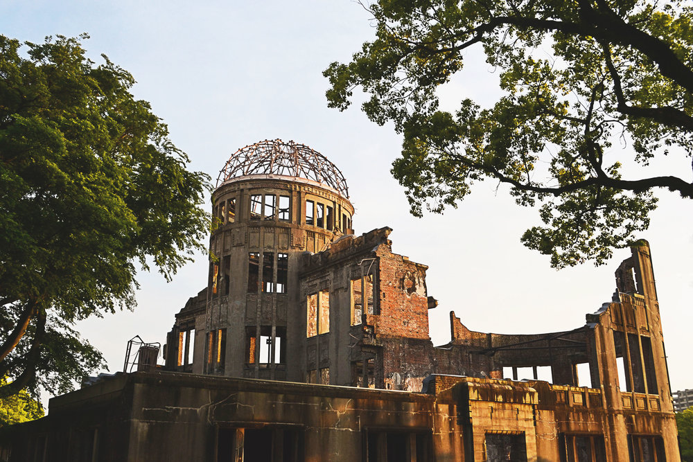 Atomic Bomb Dome in Hiroshima at sunset