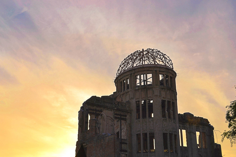 The Atomic Bomb Dome at sunset in Hiroshima