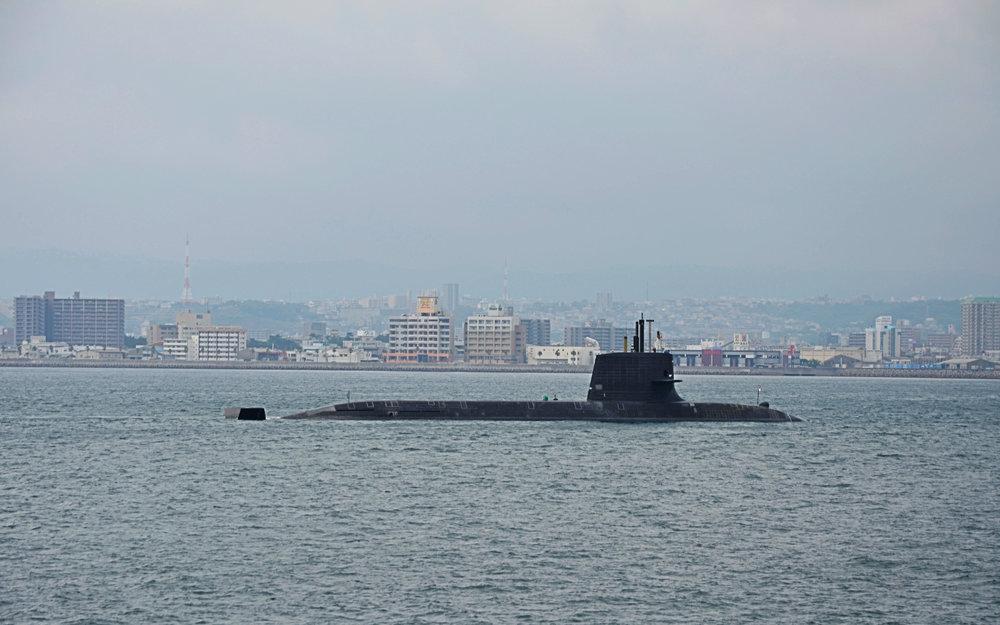 A subway sits in the waters between Kagoshima city and Sakurajima.