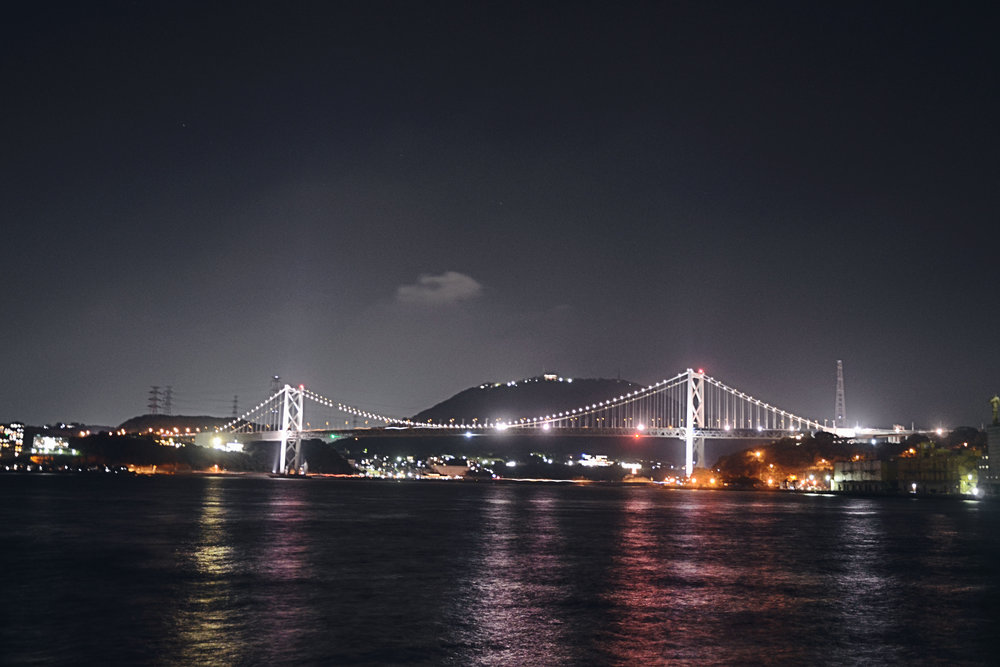 The Kanmonkyo Bridge connecting Kyushu and Honshu.