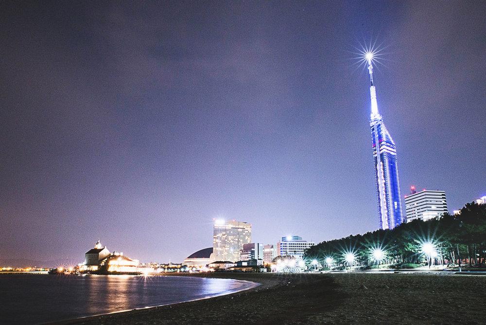 Shot from Momochi Beach, with Fukuoka Yahoo Dome and Fukuoka Tower.