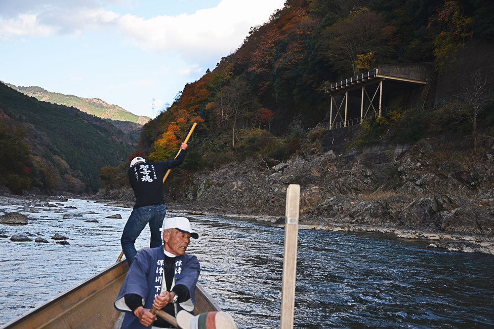 Boat captains on the Hozugawa-kudari boat ride to Arashiyama, Kyoto