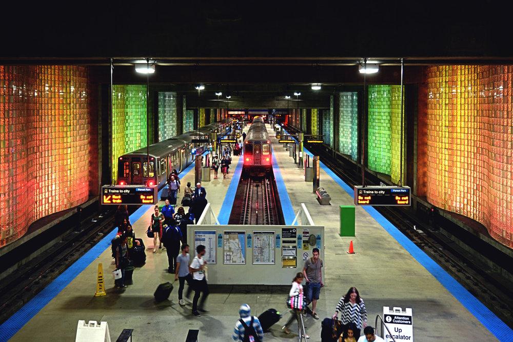 Subway station at O'hare International Airport.
