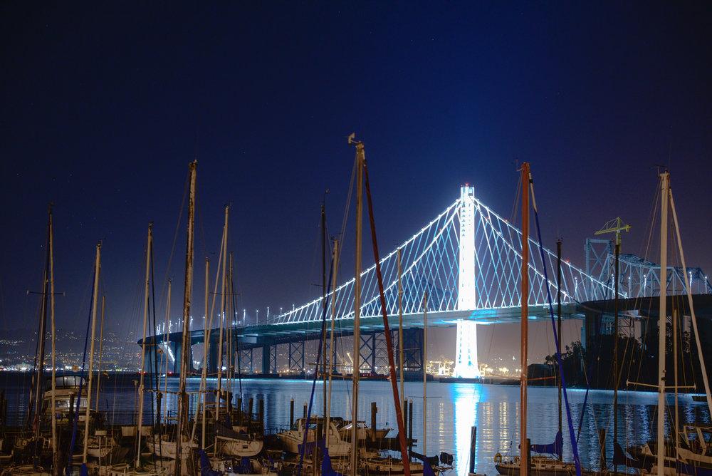 The newer half of the Bay Bridge, facing Berkeley/Oakland, from Treasure Island