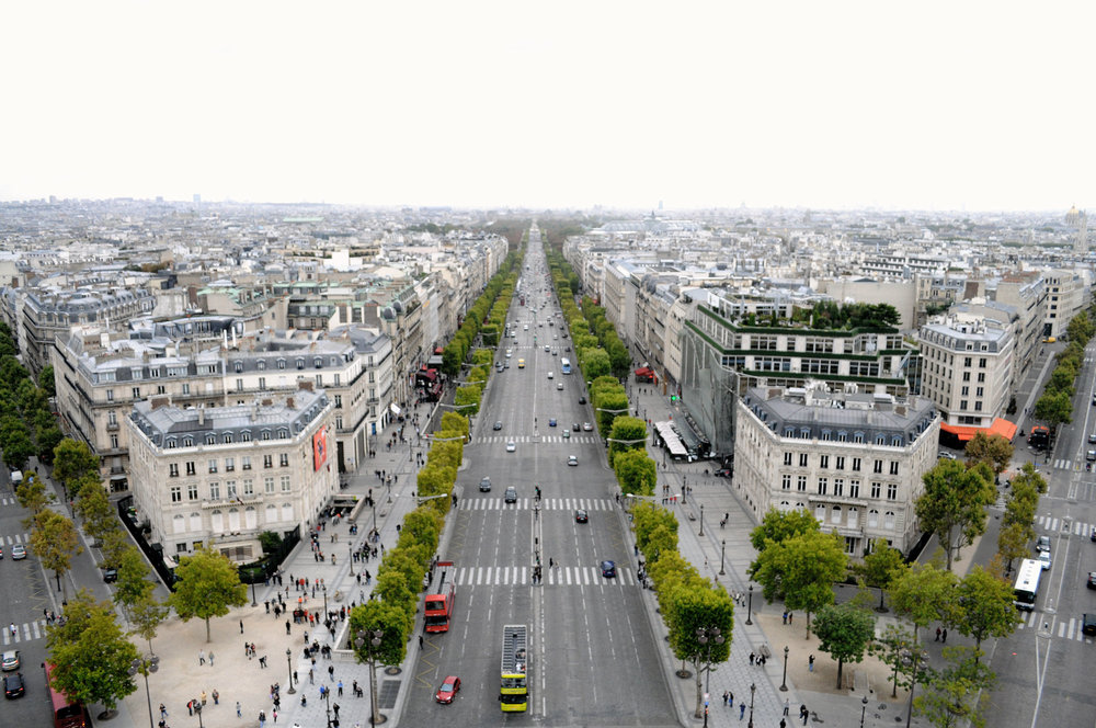 View of Champs Elysées from the top of the Arc de Triomphe