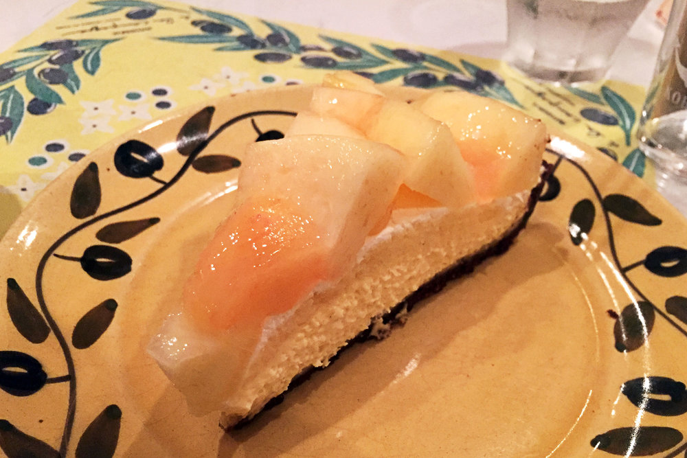 Peach tart at A la Campaigne, Tor road in Kobe