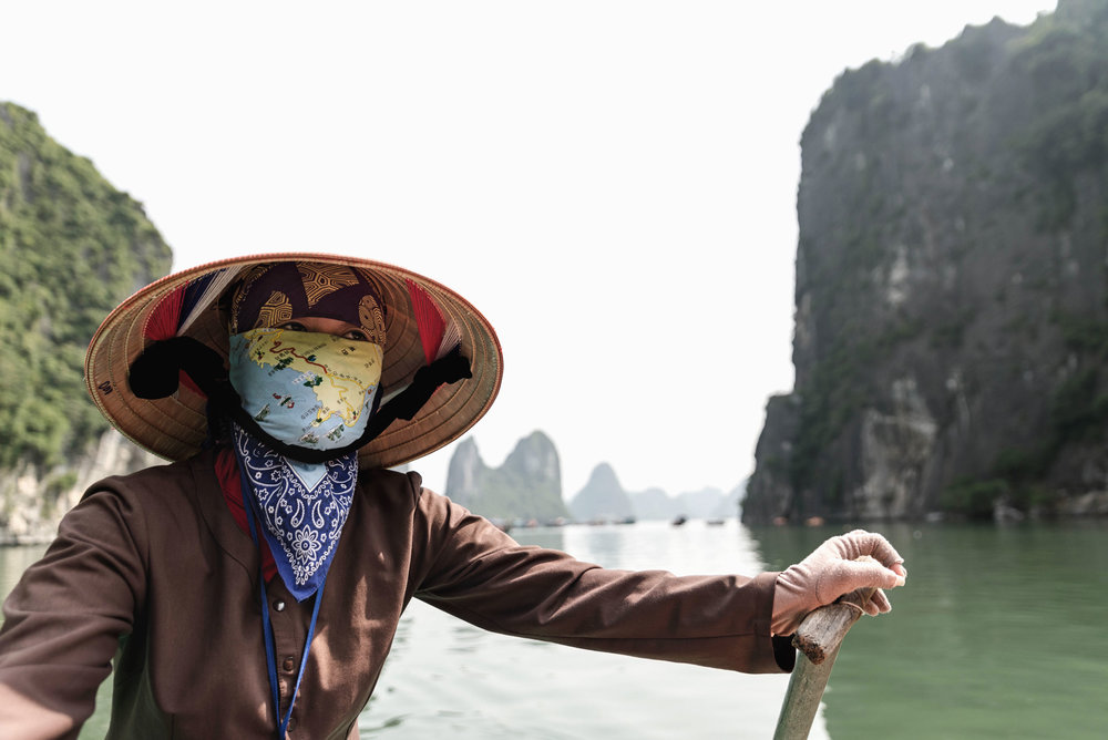 Our rowboat captain in Ha Long Bay