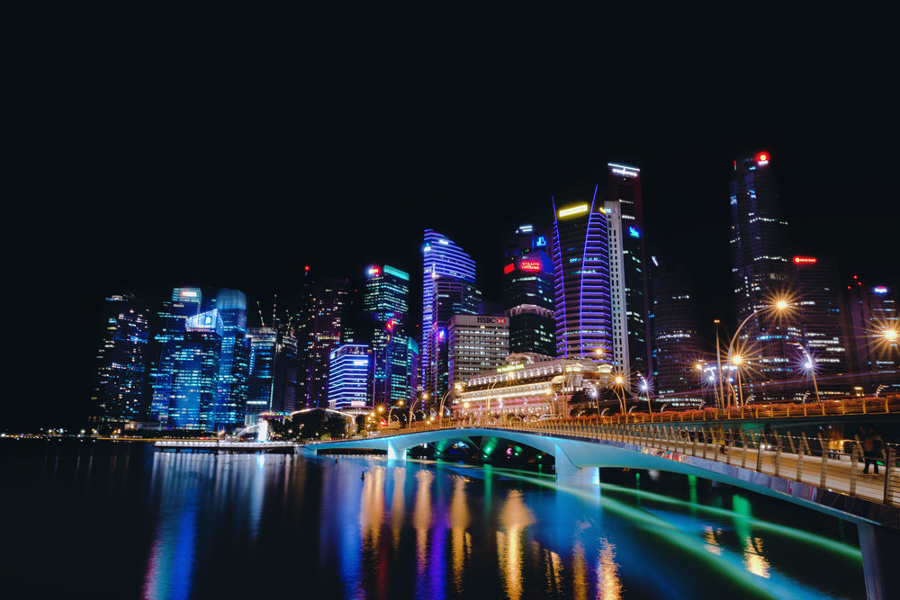 Downtown Singapore skyline at night