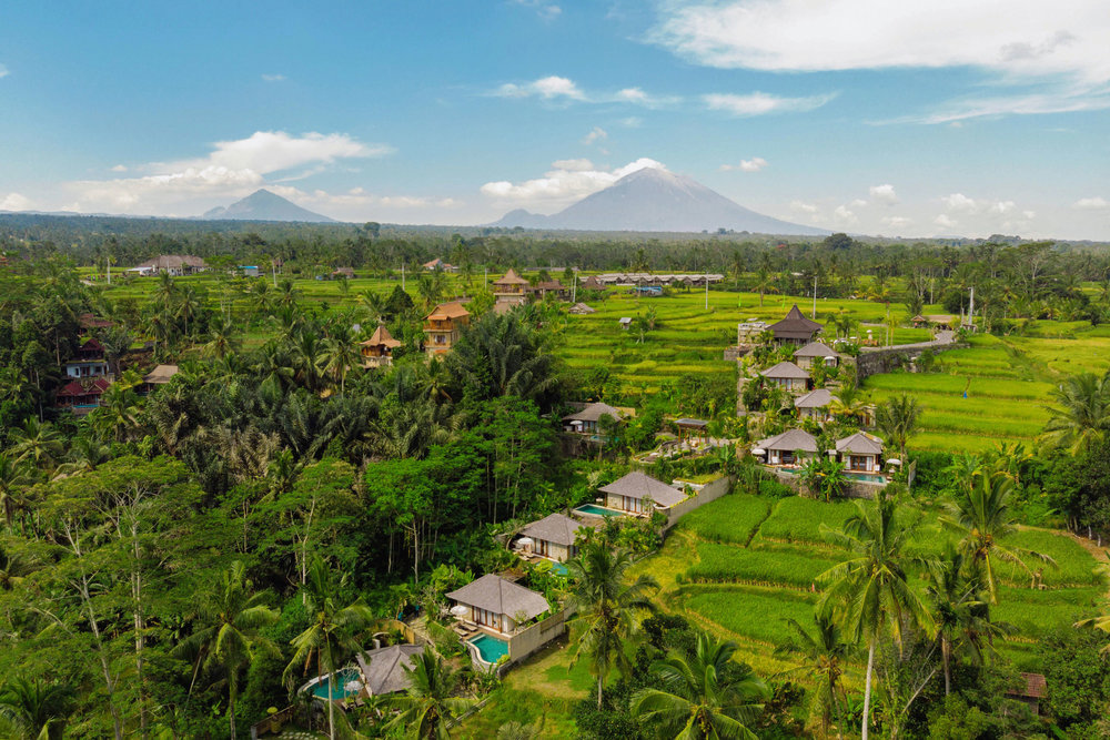 An arial shot of Nau Villas Ubud in Bali